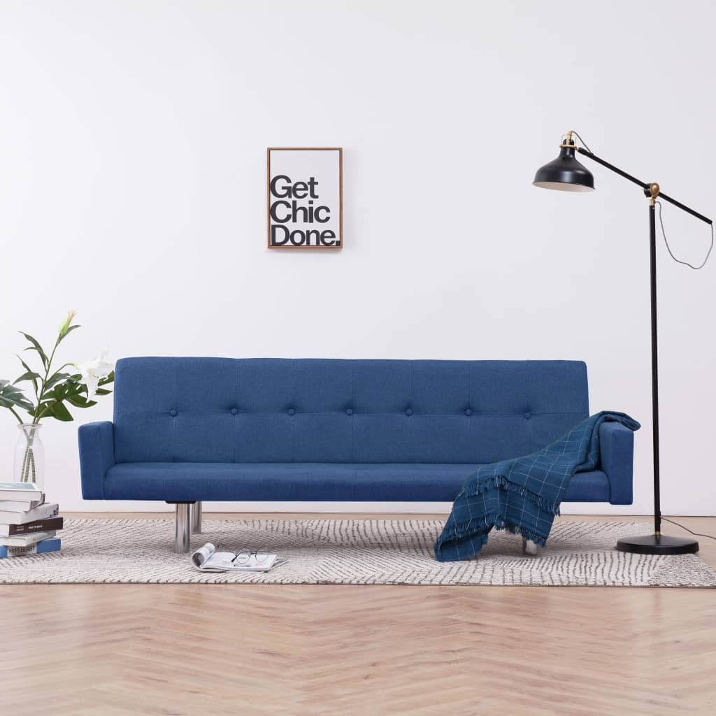 Sofa Bed with Armrest Blue Polyester