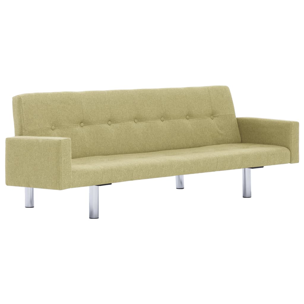 Sofa Bed with Armrest Green Polyester 2