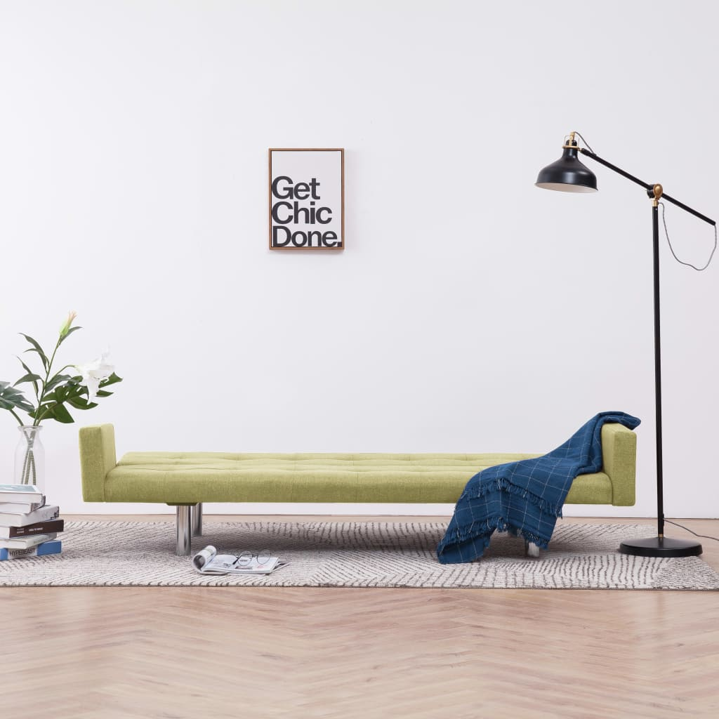 Sofa Bed with Armrest Green Polyester 3