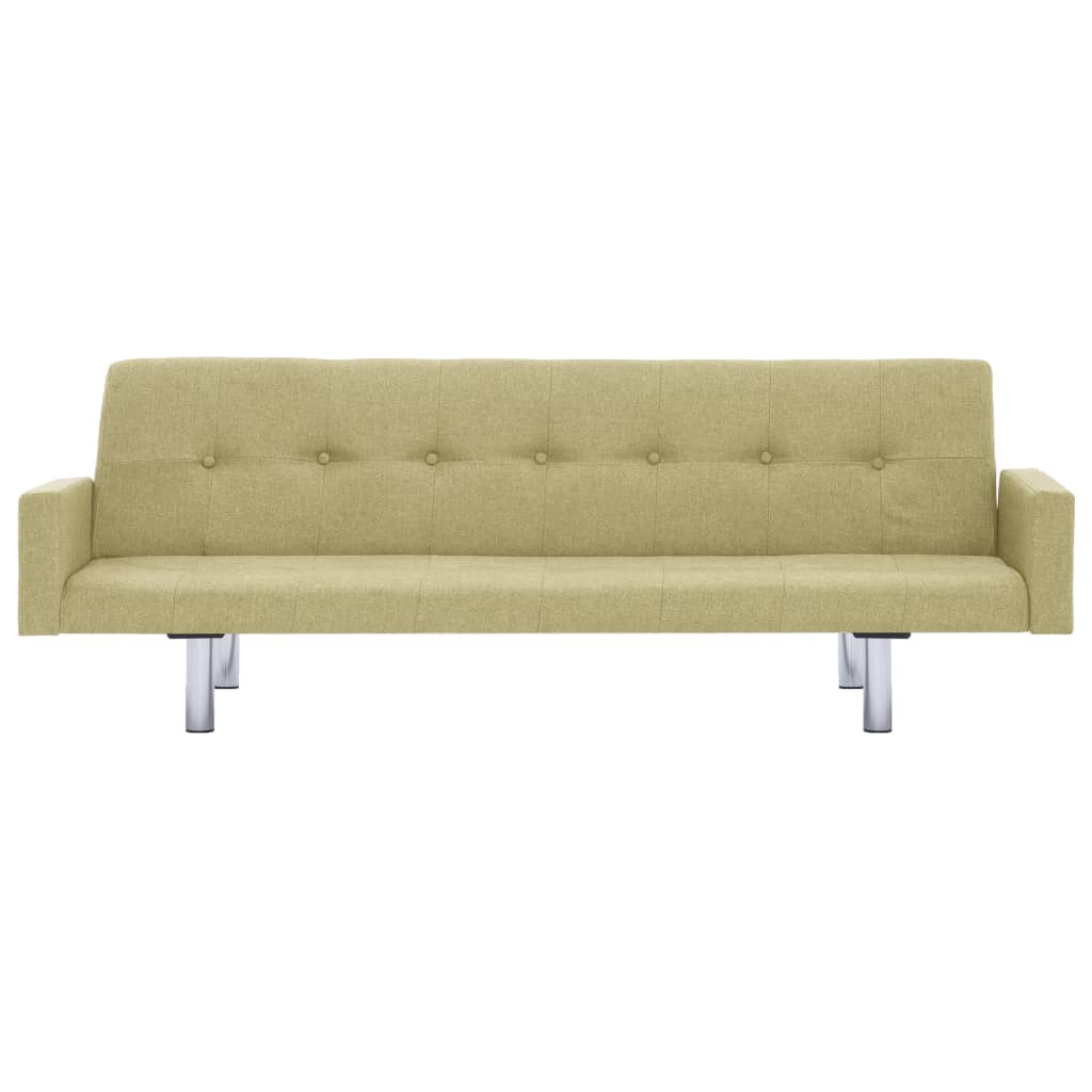 Sofa Bed with Armrest Green Polyester 5