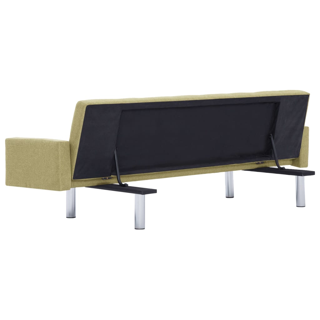 Sofa Bed with Armrest Green Polyester 6