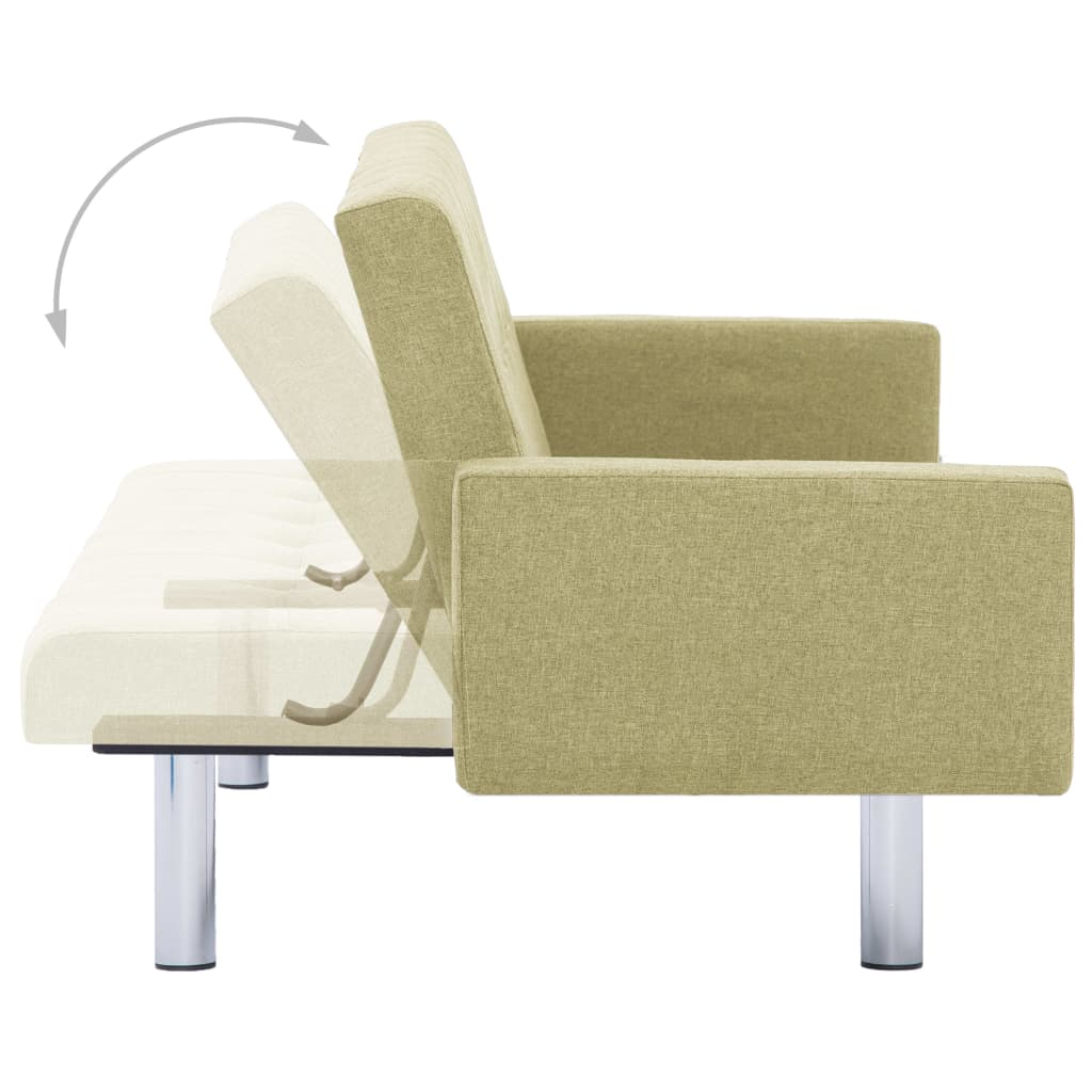 Sofa Bed with Armrest Green Polyester 7