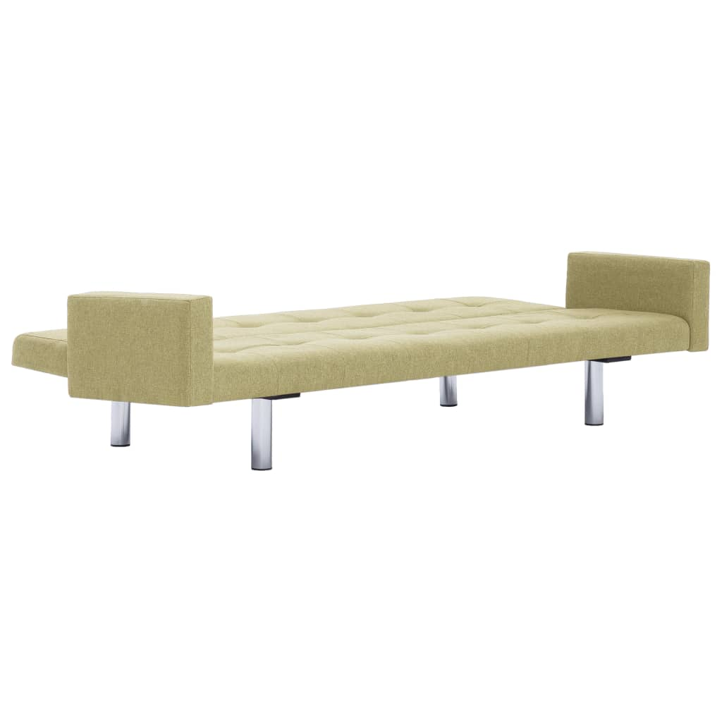Sofa Bed with Armrest Green Polyester 8