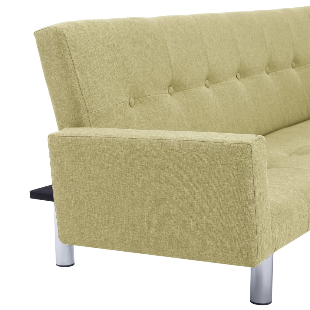 Sofa Bed with Armrest Green Polyester 9