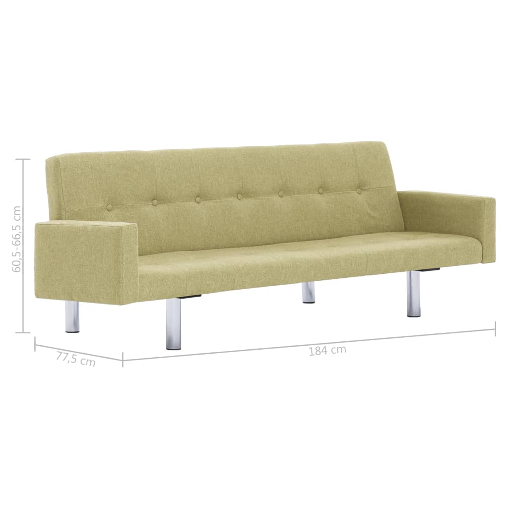 Sofa Bed with Armrest Green Polyester 10