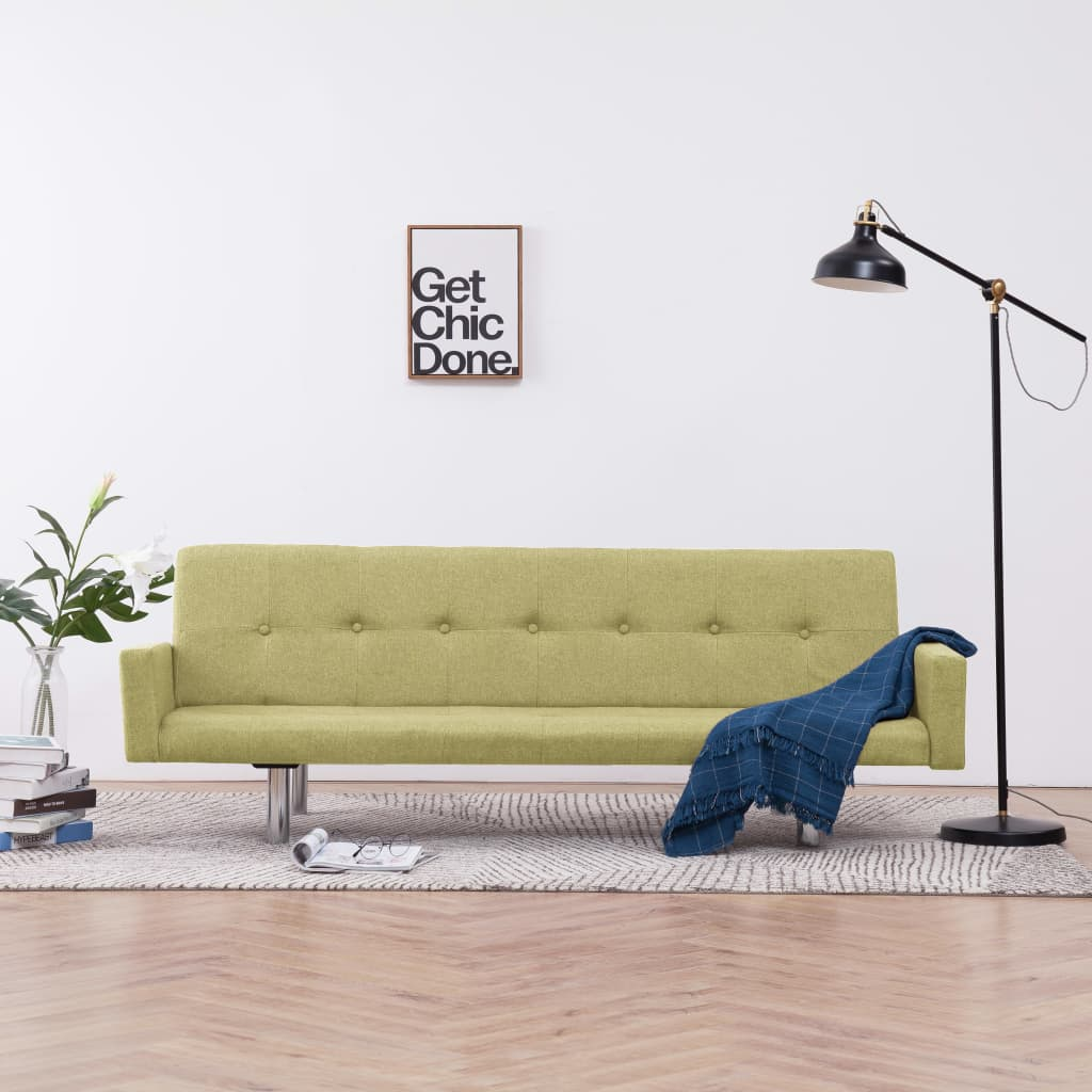 Sofa Bed with Armrest Green Polyester 1