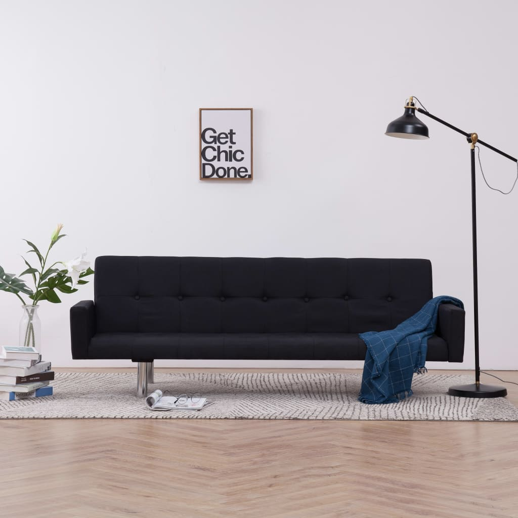 Sofa Bed with Armrest Black Polyester 1