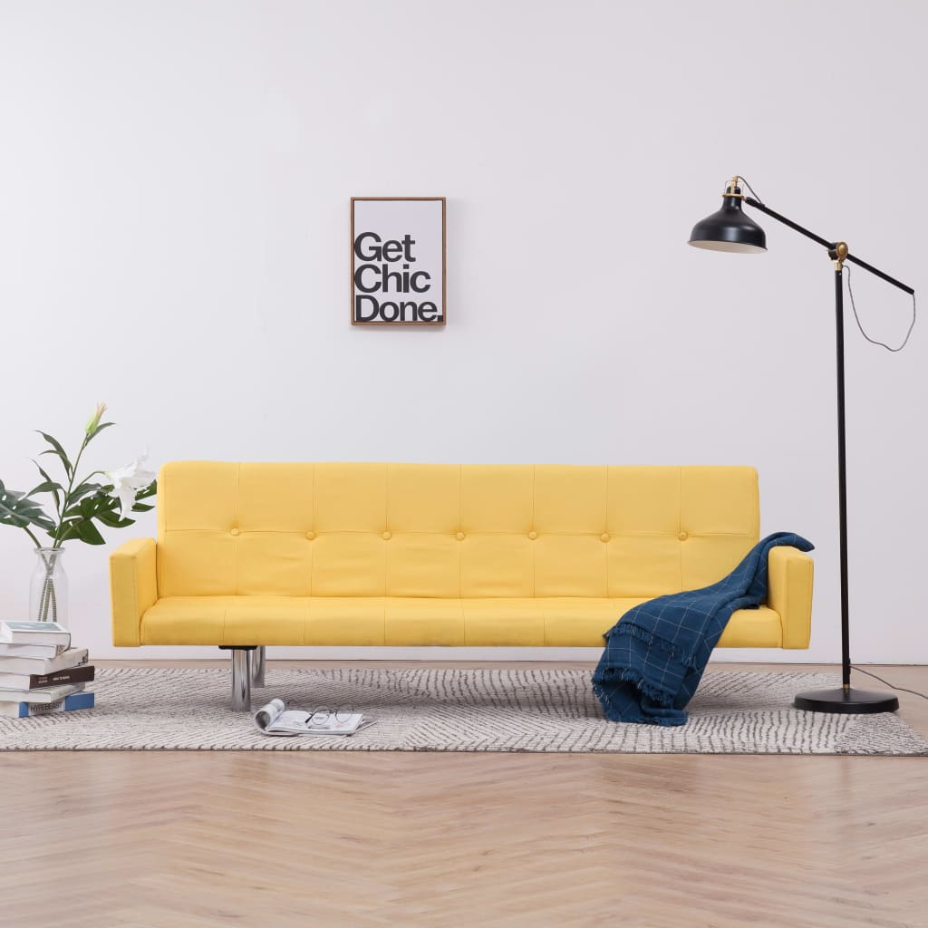 Sofa Bed with Armrest Yellow Polyester