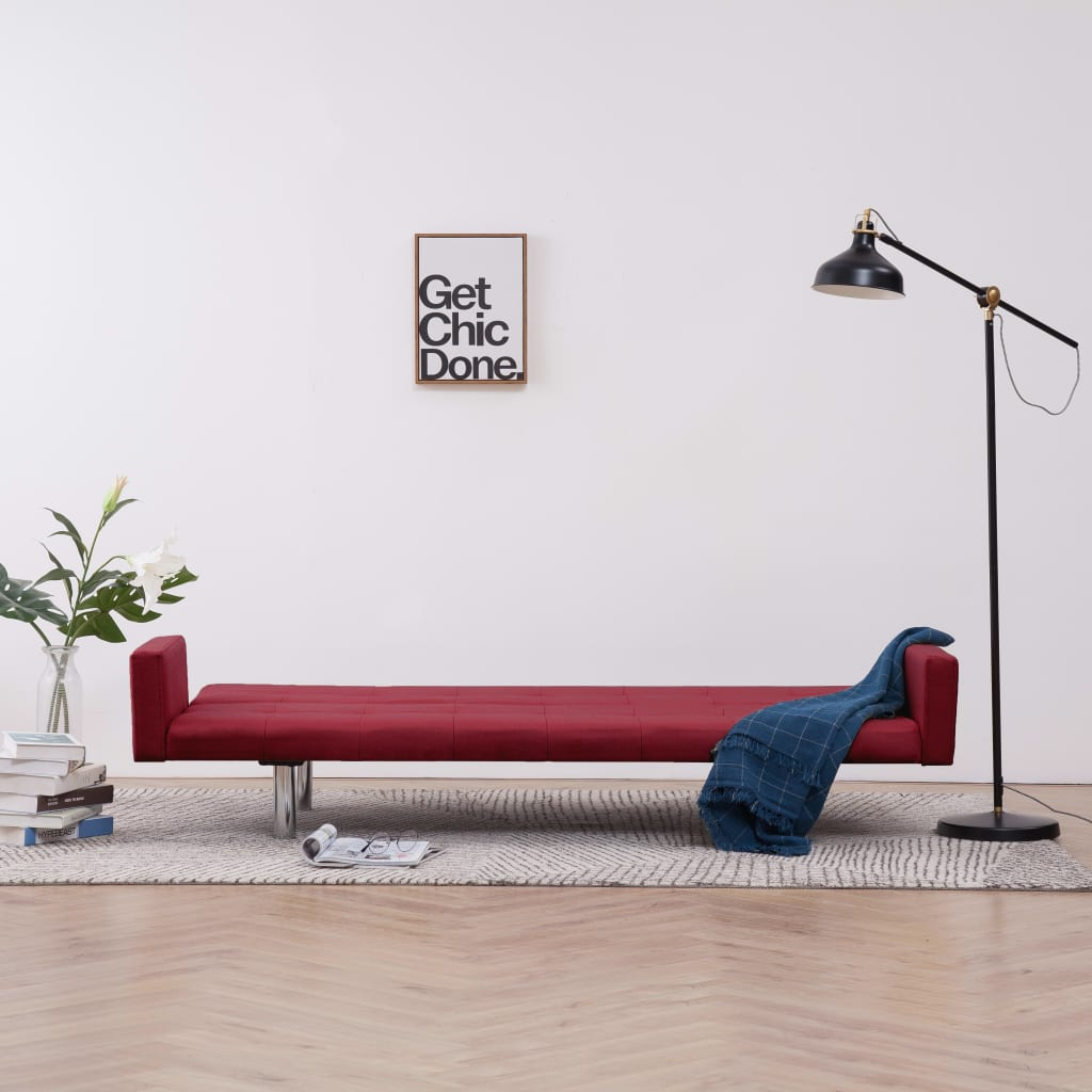 Sofa Bed with Armrest Wine Red Polyester 3