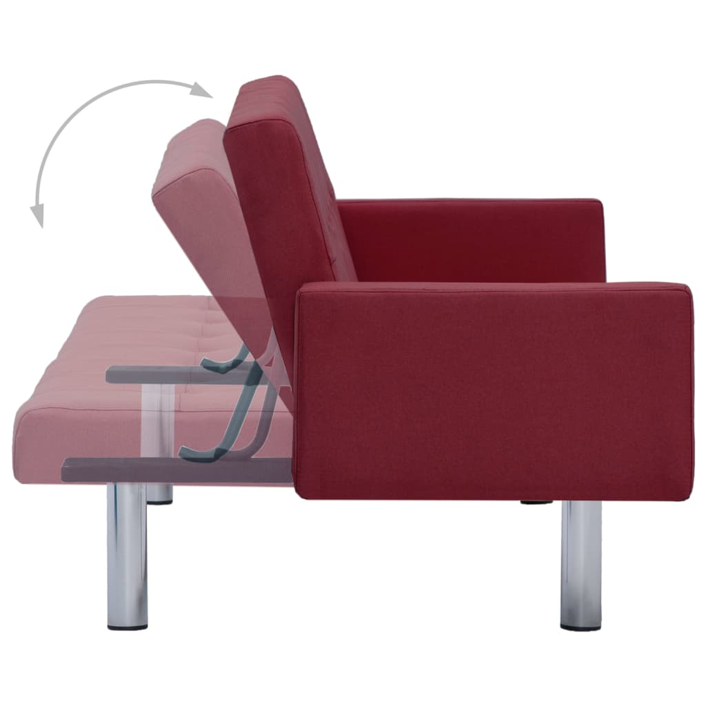Sofa Bed with Armrest Wine Red Polyester 7