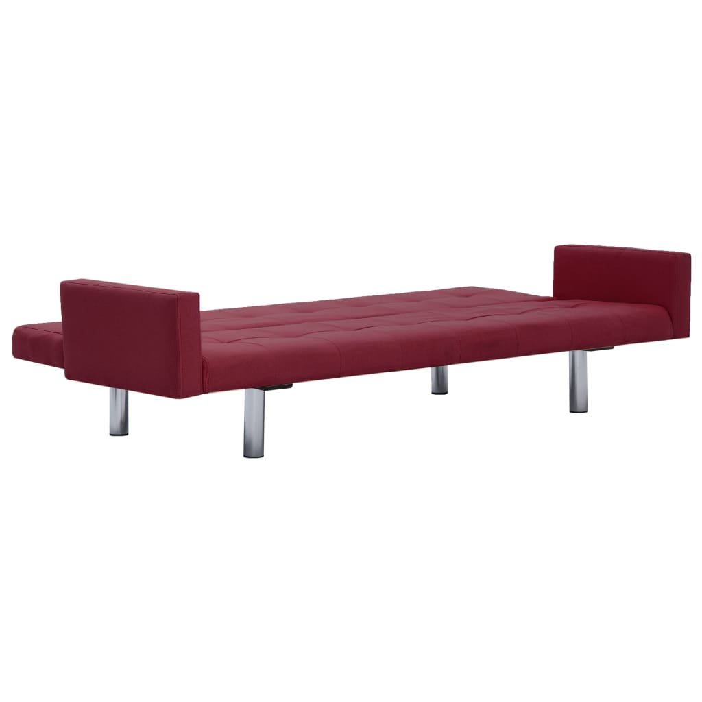 Sofa Bed with Armrest Wine Red Polyester 8