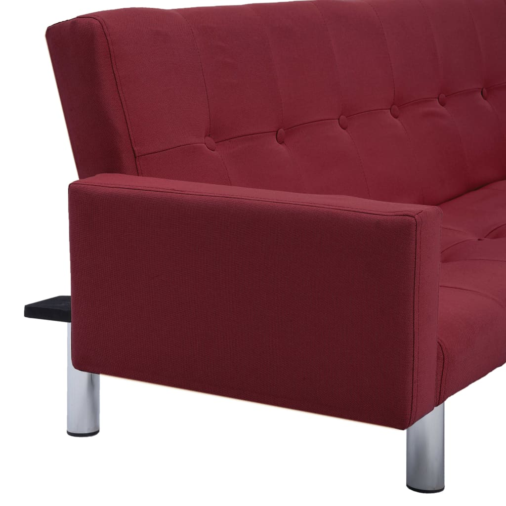 Sofa Bed with Armrest Wine Red Polyester 9