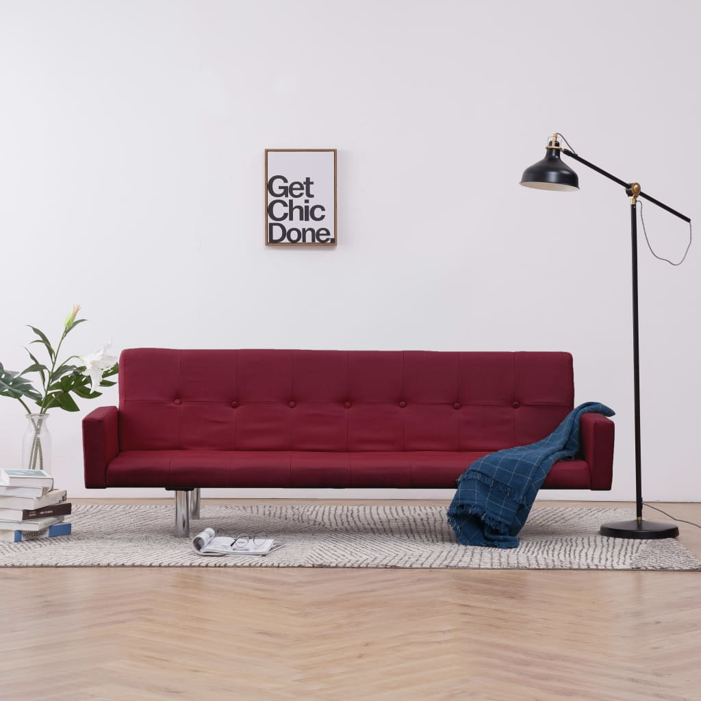 Sofa Bed with Armrest Wine Red Polyester 1