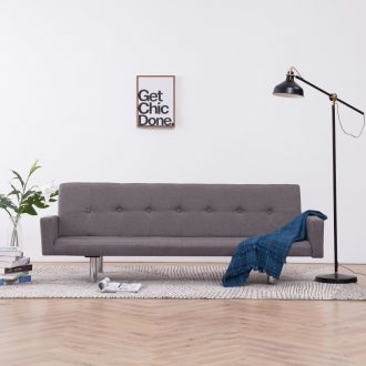 Sofa Bed with Armrest Taupe Polyester