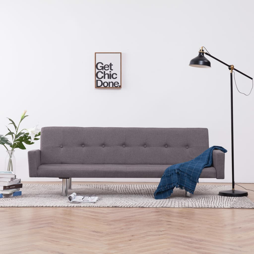 Sofa Bed with Armrest Taupe Polyester 1