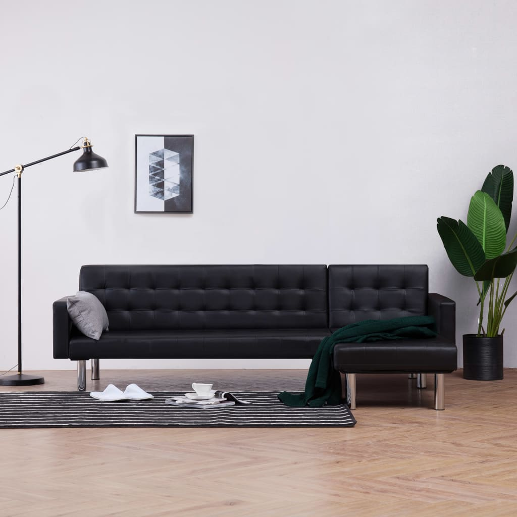 L-shaped Sofa Bed Black Faux Leather 1