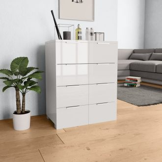 Sideboard High Gloss White 60x35x76 cm Chipboard 1