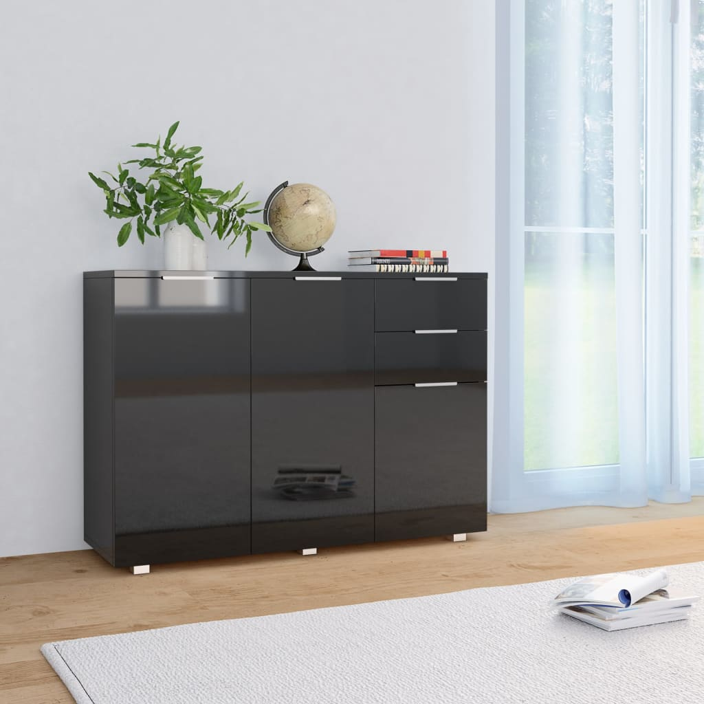 Sideboard High Gloss Black 107x35x76 cm