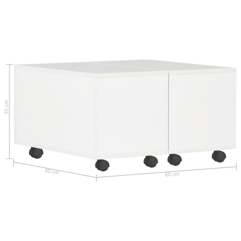 Coffee Table High Gloss White 60x60x35 cm Chipboard 8