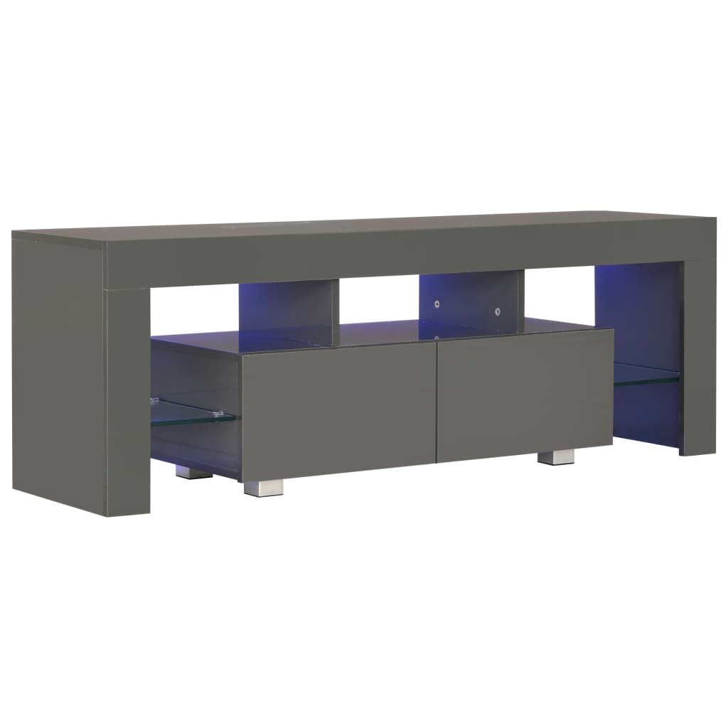 TV Cabinet with LED Lights High Gloss Grey 130x35x45 cm 2