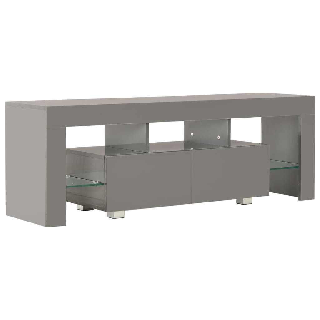 TV Cabinet with LED Lights High Gloss Grey 130x35x45 cm 3