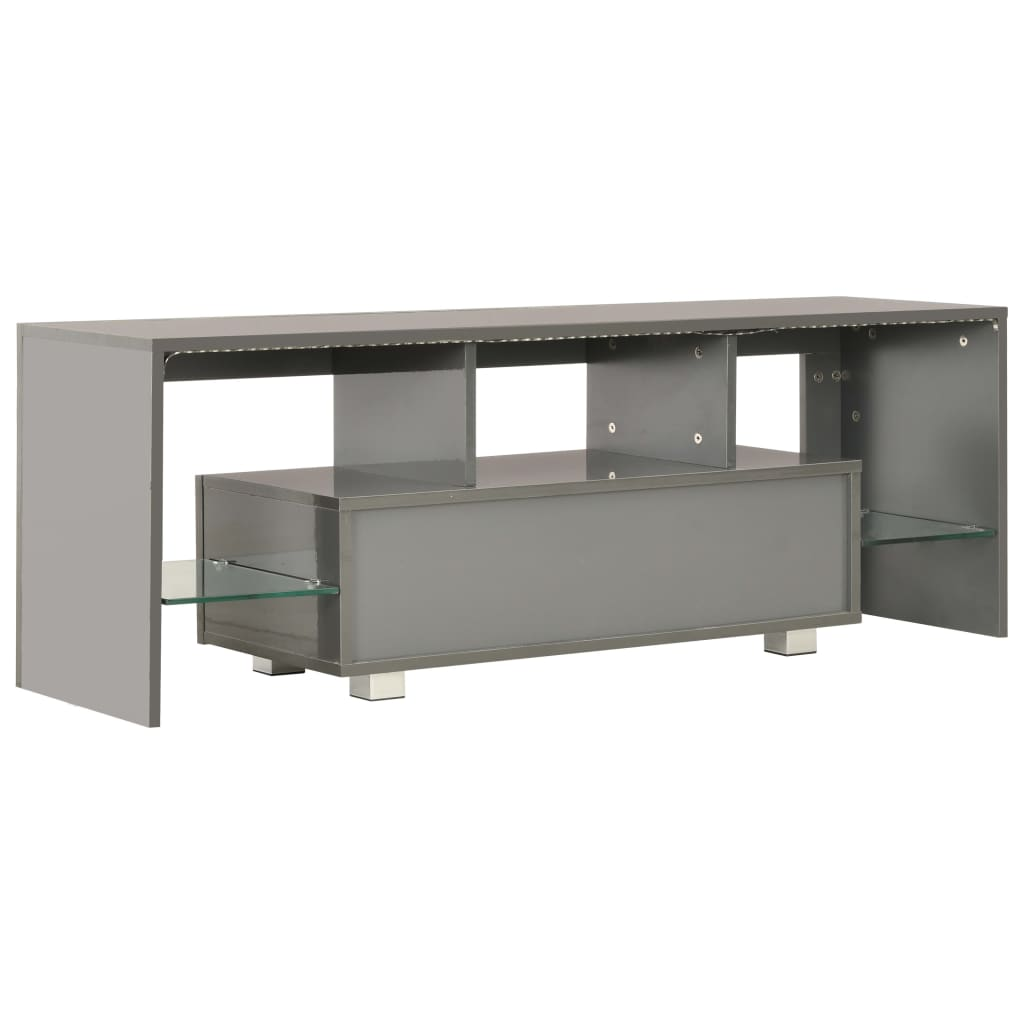 TV Cabinet with LED Lights High Gloss Grey 130x35x45 cm 4