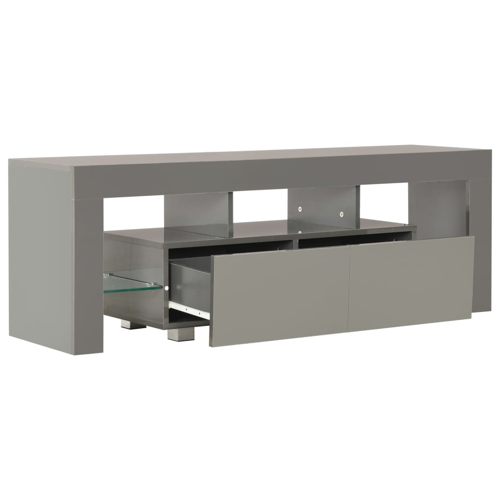 TV Cabinet with LED Lights High Gloss Grey 130x35x45 cm 5