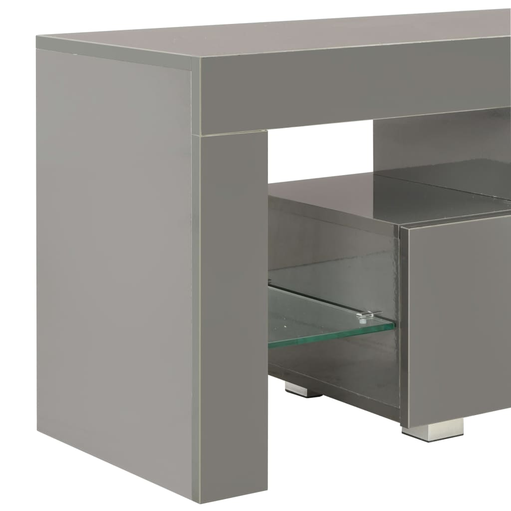 TV Cabinet with LED Lights High Gloss Grey 130x35x45 cm 7