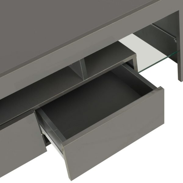 TV Cabinet with LED Lights High Gloss Grey 130x35x45 cm 8