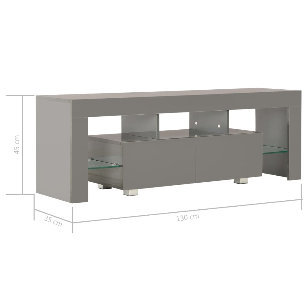 TV Cabinet with LED Lights High Gloss Grey 130x35x45 cm 11