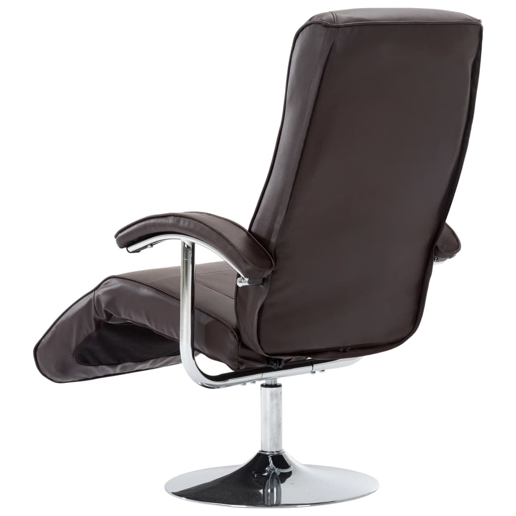 TV Armchair Brown Faux Leather 7