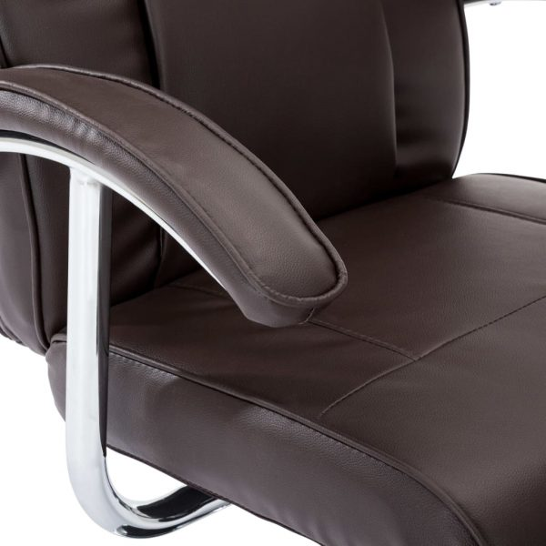 TV Armchair Brown Faux Leather 8