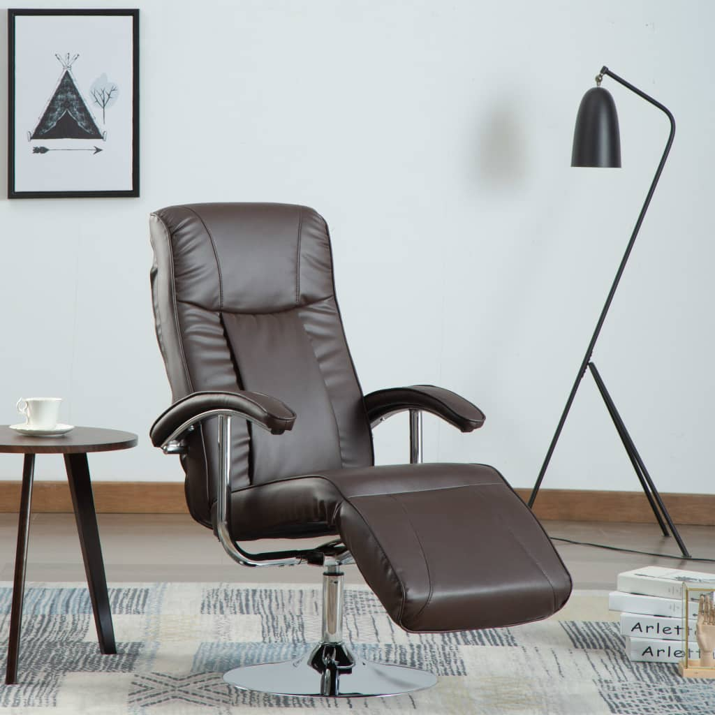 TV Armchair Brown Faux Leather 1