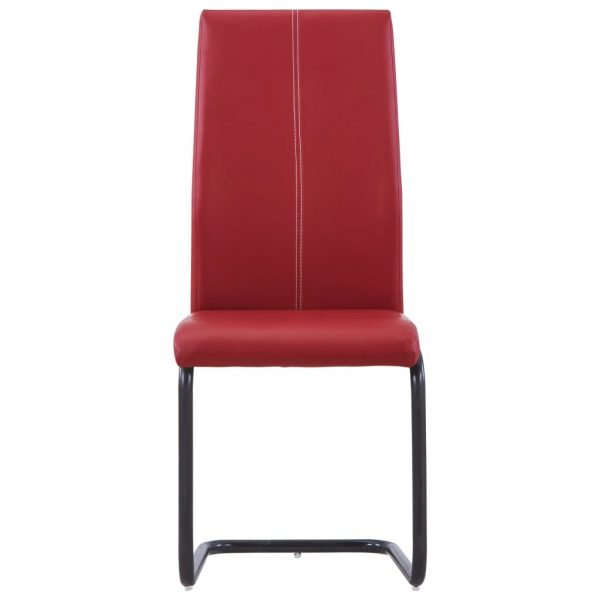 Dining Chairs 4 pcs Red Faux Leather 3