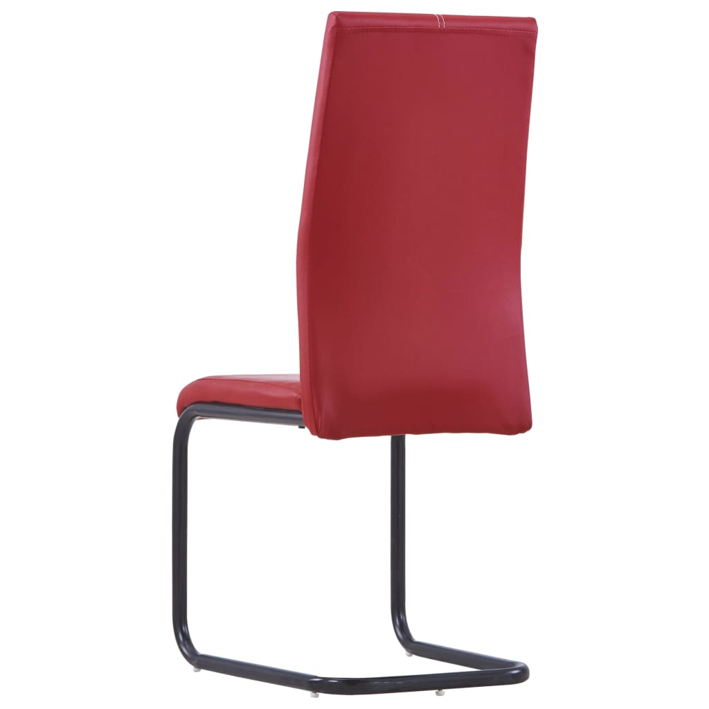 Dining Chairs 4 pcs Red Faux Leather 5