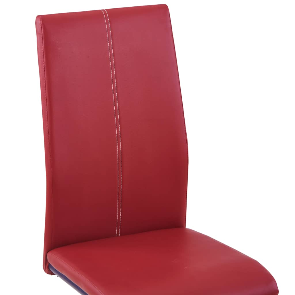 Dining Chairs 4 pcs Red Faux Leather 6