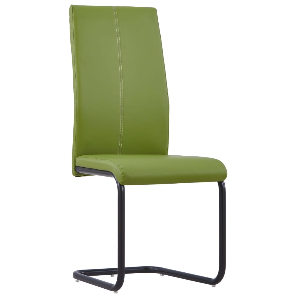 Dining Chairs 4 pcs Green Faux Leather 2