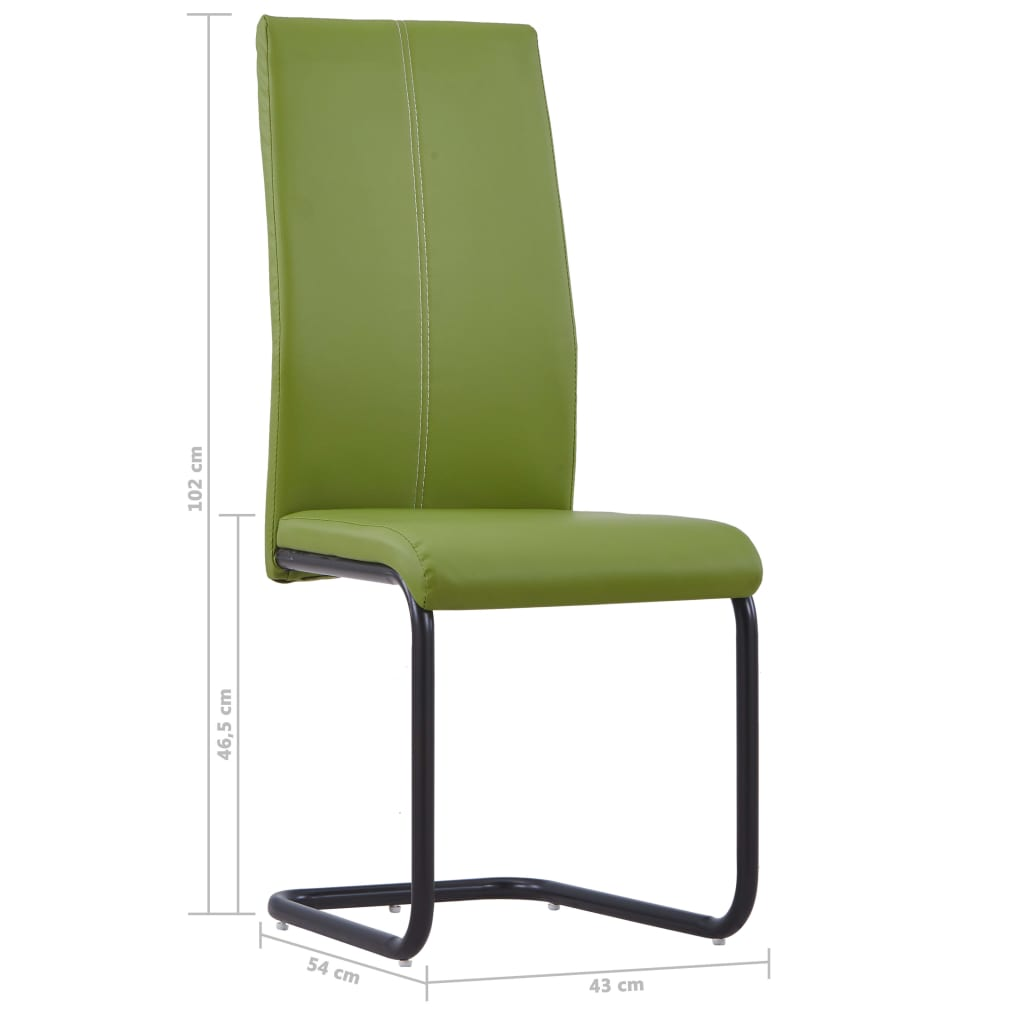 Dining Chairs 4 pcs Green Faux Leather 8
