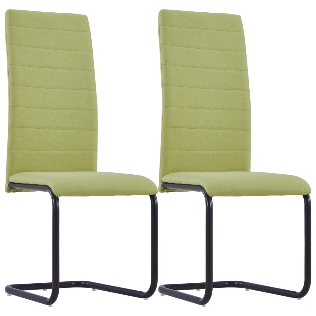 Dining Chairs 2 pcs Green Fabric 1