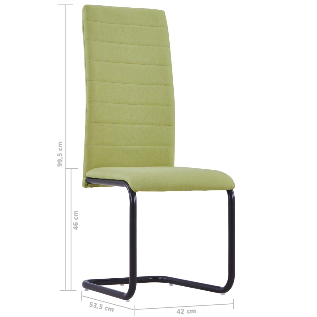 Dining Chairs 2 pcs Green Fabric 8