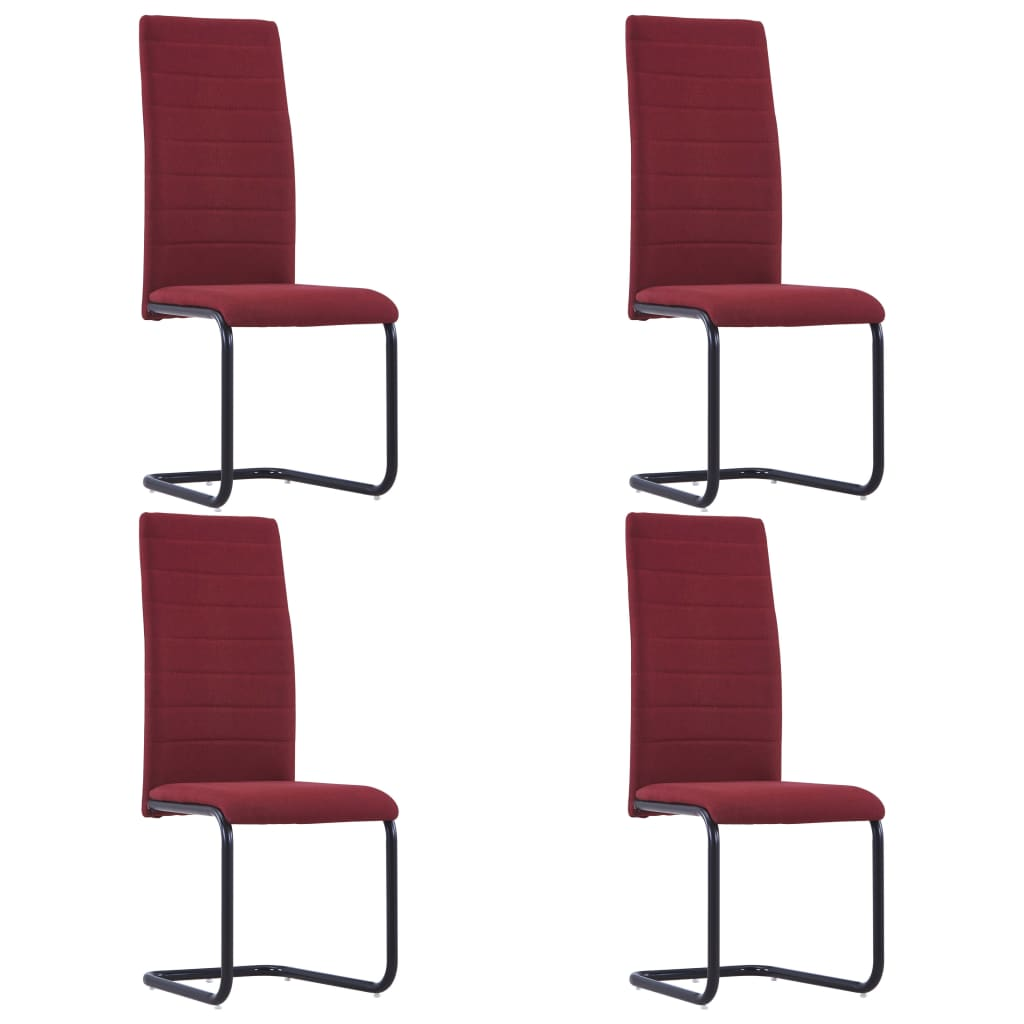 Dining Chairs 4 pcs Wine Fabric