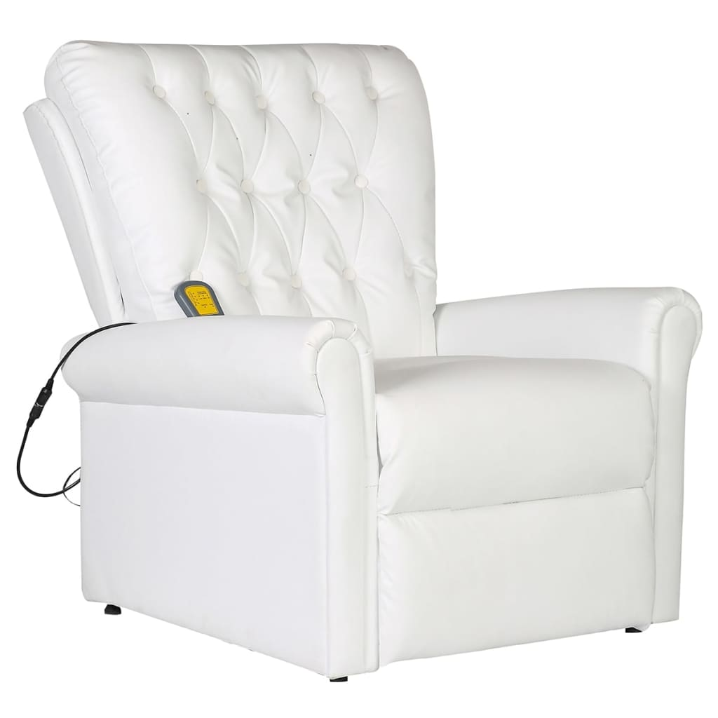 Massage Recliner Chair White Faux Leather