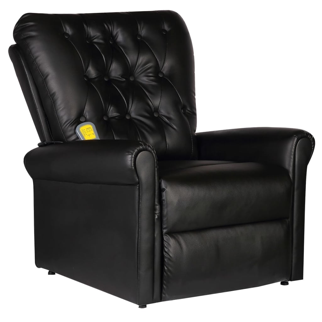 Massage Recliner Chair Black Faux Leather 1