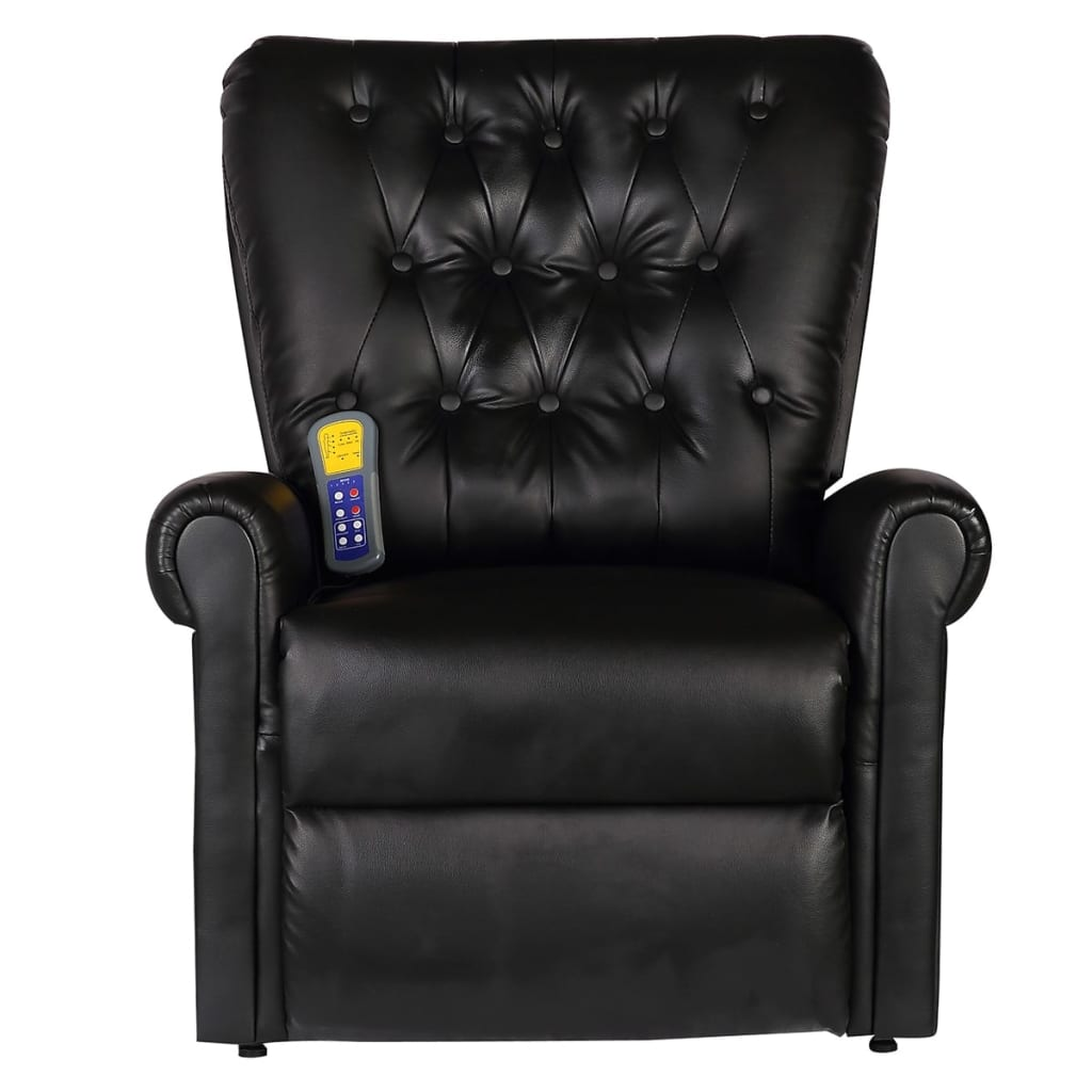 Massage Recliner Chair Black Faux Leather 2