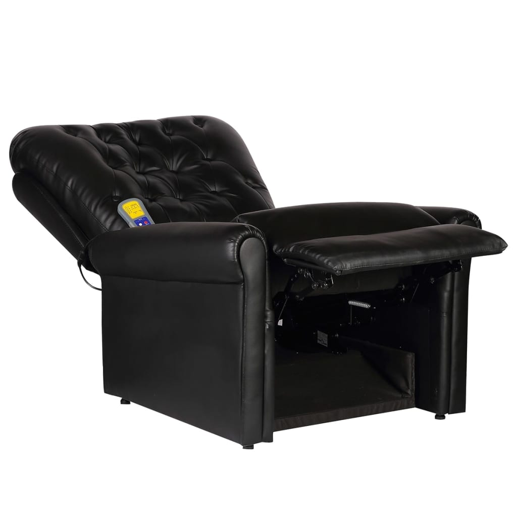 Massage Recliner Chair Black Faux Leather 3