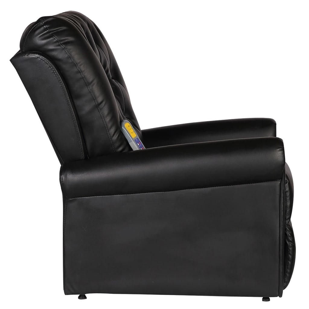 Massage Recliner Chair Black Faux Leather 4