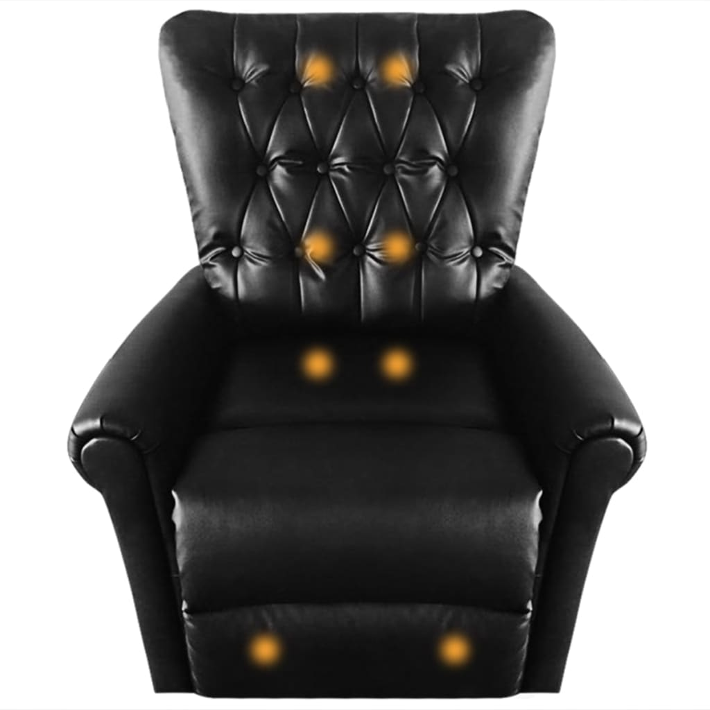 Massage Recliner Chair Black Faux Leather 7