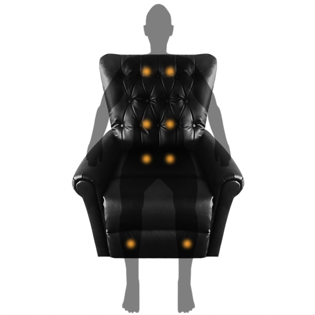 Massage Recliner Chair Black Faux Leather 8