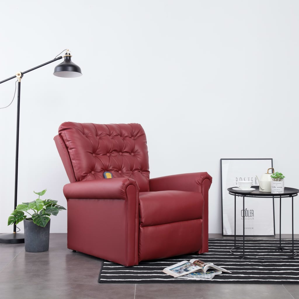 Massage Recliner Chair Wine Red Faux Leather