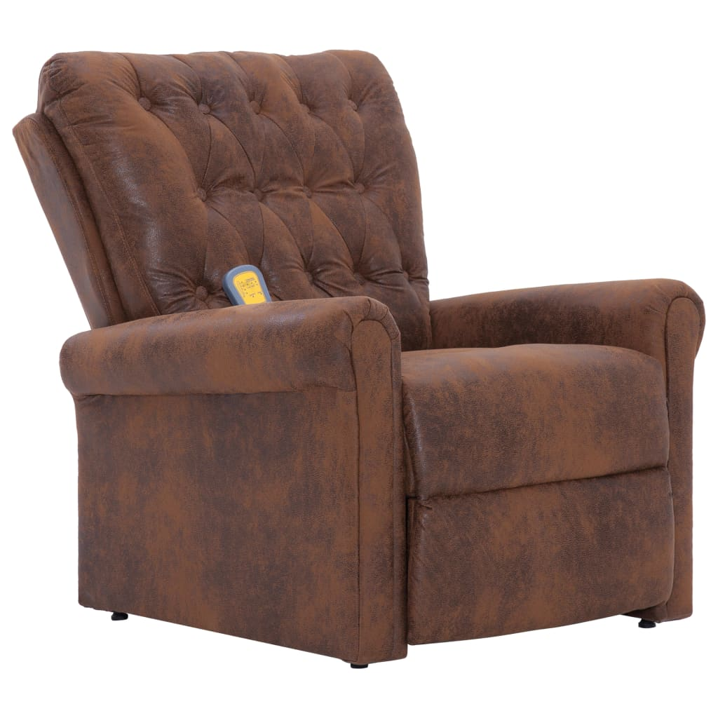 Massage Recliner Chair Brown Faux Suede Leather 2